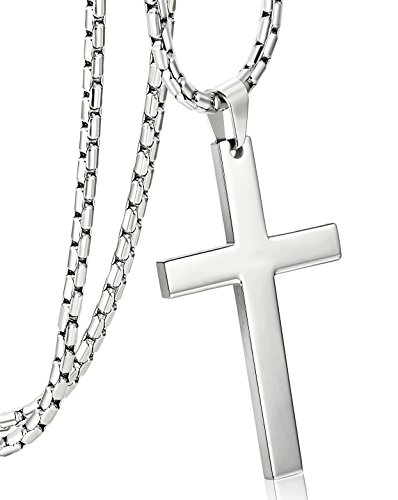 (ORAZIO 3MM Stainless Steel Chain Cross Pendant Necklace for Men Silver Tone 30 Inches)