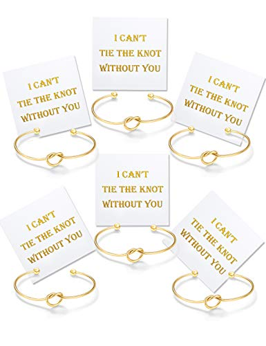 Bridesmaid Gifts, Love Knot Bangle I Can't Tie The Knot Without You Cards Adjustable Stretch Cuff Bangle for Girls Gold Tone Set of 6