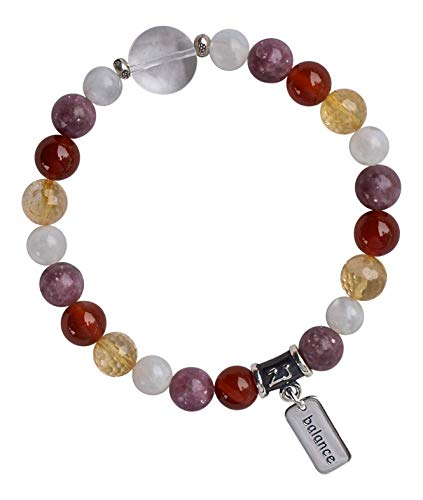 MENOPAUSE RELIEF - Moonstone, Lepidolite, Carnelian, Citrine with round Quartz Etched Star Healing Crystal Stretch Bracelet (SBMENOPAUSE)