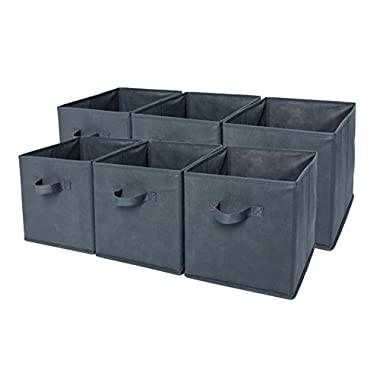 Sodynee® Foldable Cloth Storage Cube Basket Bins Organizer Containers Drawers, 6 Pack, Grey