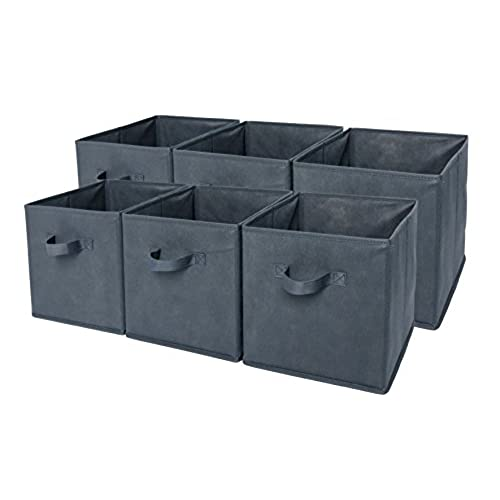 Superbe Sodynee Foldable Cloth Storage Cube Basket Bins Organizer Containers  Drawers, 6 Pack, Grey