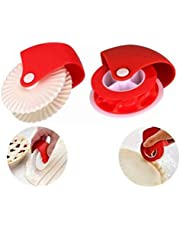2PCS Pastry Cutting Wheel Pastry Crimping Wheel Plastic Wheel Roller Kitchen Baking Tool for Pizza Pastry Pie Crust (Red)