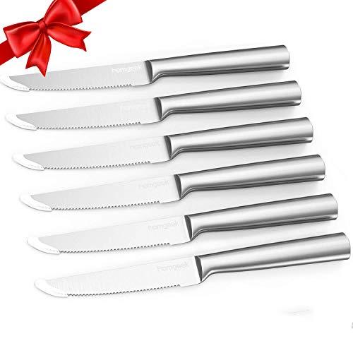 Homgeek Steak Knives,6-Piece German High Carbon Stainless Steel Serrated Steak Knife