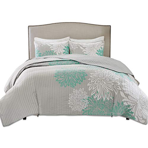 Comfort Spaces Enya 3 Piece Quilt Coverlet Bedspread Ultra Soft Floral Printed Pattern Bedding Set, Full/Queen, Aqua-Grey (Aqua Quilts)
