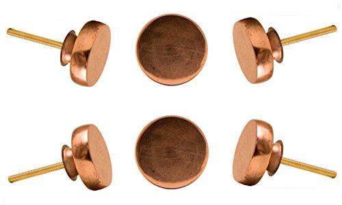 Set of 6 Round Copper Portsoken Cabinet Drawer Knobs Cupboard Dresser Pull by Trinca-Ferro - Copper Round Cabinet Knob