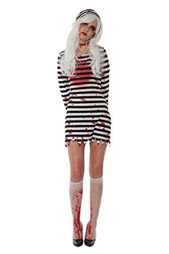 JJ-GOGO Prisoner Costume Women - Sexy Halloween Adult