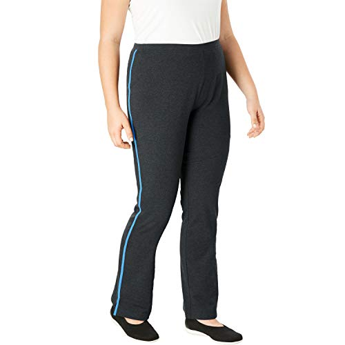 Stripe Bootcut Pants - Woman Within Women's Plus Size Tall Stretch Cotton Side-Stripe Bootcut Yoga Pant - Heather Charcoal Anchor Blue, 4X