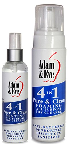 Adam & Eve 4 In 1 Pure & Clean All Purpose Adult Toy Cleaner Anti-Bacterial Deodorizes Disinfects Sanitizes 4oz Misting Spray + 8oz Foaming Pump, Best Gay Men's Sex Toys