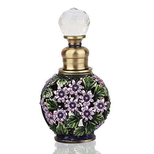 YUFENG Fancy Retro Mini Glass Perfume Bottle Empty Refillable Vintage Frosted Glass Perfume Bottles]()