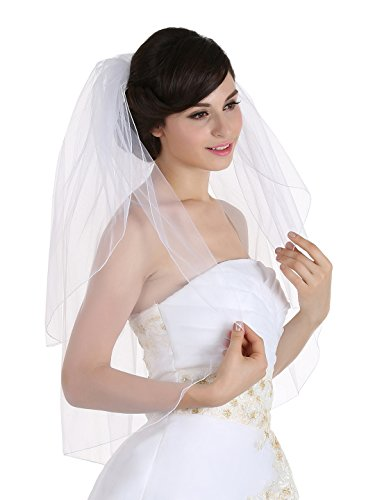2T 2 Tier Pencil Edge Wedding Bridal Veil Shoulder Length 25