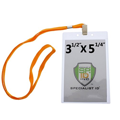 10 Pack - Large Vertical Credential ID Badge Holders (3 1/2 x 5 1/4) with Premium Quality Lanyards by Specialist ID (4x6 Outside) -