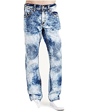 Men's Straight Leg Relaxed Fit Big T Green Stitch Jeans in Storm Central
