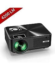 """YABER Proiettore 4500 Lumen Mini Proiettore Portatile nativa 1280*720P Supporto 1080P LED Videoproiettore 200"""" Display Cinema Domestico Iphone, Android, Laptop, PC, Con Tv/Av/Vga/Usb/Hdmi"""