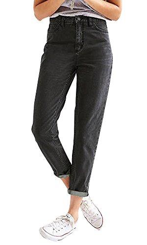 Ecupper Women High Waist Boyfriend Trousers Denim Straight-Leg Jeans