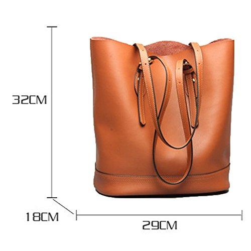 Ladies Casual Fashion Handbag 2018 Handbag Shoulder Bucket New Gray Bag Leather Bag Leather axzZ0w1g