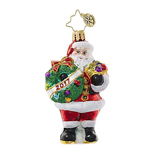 Christopher Radko 2017 Holly Jolly Year Santa Little Gem Glass Ornament - 3