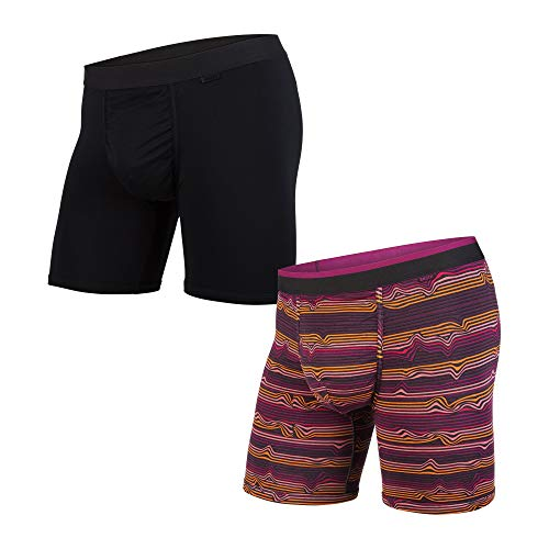 BN3TH Classics Boxer Brief 2-Pack Base Layer Underwear, Large, Warp Stripe Purple