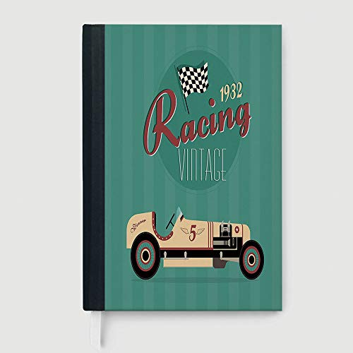 Casebound Hardcover Notebook,Cars,Business Notepad Daolin Paper,Poster Print of a Classic Vintage Automobile Nostalgia Rally Antique Machine,96 Ruled Sheets,B5/7.99x10.02 in