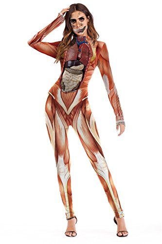 ALBIZIA Women's Muscle Printed Hallowmas Costume Jumpsuit Romper Style-1 -