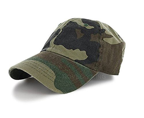 Plain 100% Cotton Hat Men Women One Size Baseball Cap (30+ Colors) Camo,One Size