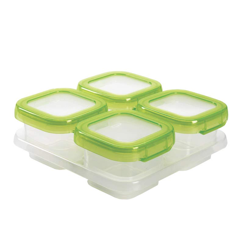 OXO Tot Mealtime Starter Value Set with Roll-up Bib, Feeding Spoons, Food Masher and Four 4oz Baby Blocks Freezer Storage Containers by OXO Tot (Image #4)