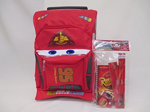 "Cars Disney Lightning McQueen 3D Shape Toddler Medium 12"" Rolling Luggage Book Bag & Stationery Set"