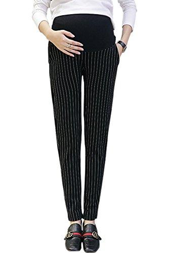 不格好孤独アジテーションKINDOYO レディース ファッション マタニティ パンツ ストライプ クロップドパンツ オーバーバンプ オフィスワーク 妊娠中のパンツ, ブラック/2XL