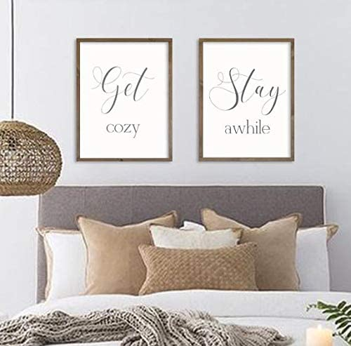 Amazon Com None Brand Guest Room Decor Get Cozy Stay Awhile Farmhouse Bedroom Wall Art Living Room Signs Framed Wood Signs Set Of 2 Home Kitchen