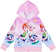 Girls Zip Up Hoodie Jacket 3D Print Graphic Sweatshirt Long Sleeve Casual Sweater for 3-8 Years Kids