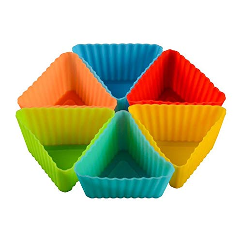 Silicone Mini Baking Cup Triangle Reusable Muffin Cake Cupcake Liners Mold Bakeware Maker Random - Cake Molds -