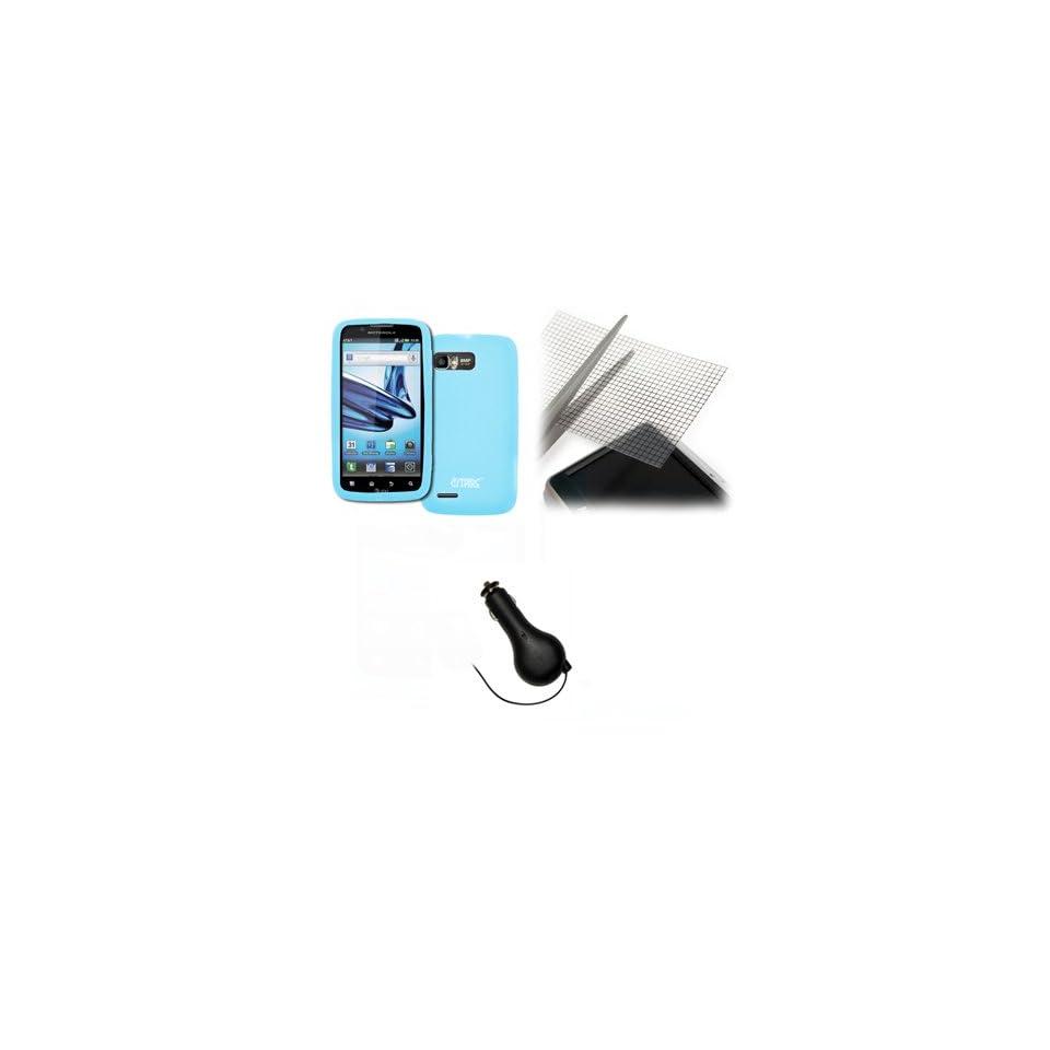 EMPIRE Motorola Atrix 2 Light Blue Silicone Skin Case Cover + Universal Screen Protector + Retractable Car Charger (CLA) [EMPIRE Packaging]