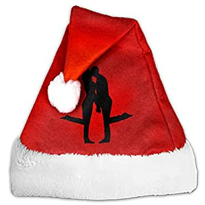 Premium Love Kissing Santa Hats, Red Velvet Christmas Hats with White Cuffs