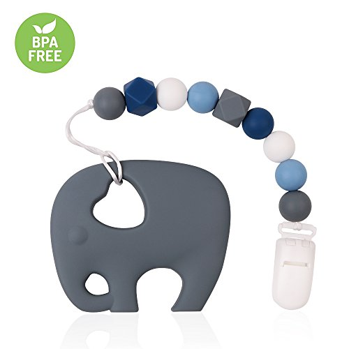 Pacifier Clip TYRY.HU Teething Toys BPA Free Silicone Elephant Teether with Binkie Holder for Boys, Girls, Baby Shower Gift (Blue)