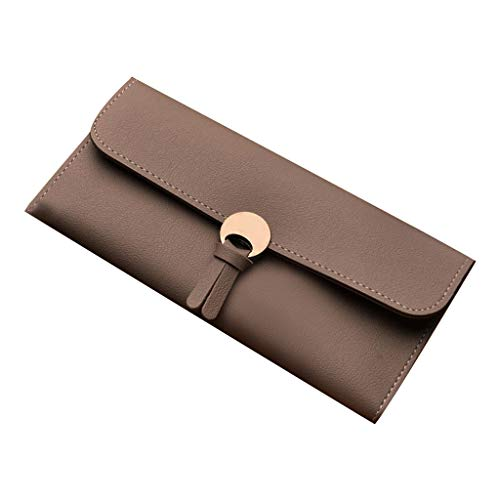 LiLiMeng Woman Fashion Long Wallets Ladies Pure Color Card Holder Party Hand Bags Vintage Handle Satchel Purse Snap Design
