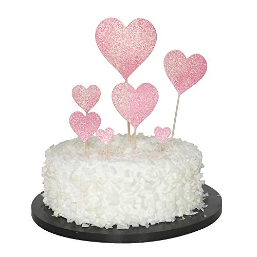 - Sunny ZX Heart Shaped Gold Glitter Heart Cupcake Toppers Cake Decorations for Wedding and Baby Birthday