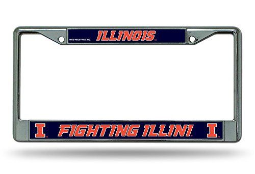 Rico Illinois Illini NCAA Chrome Metal License Plate Frame