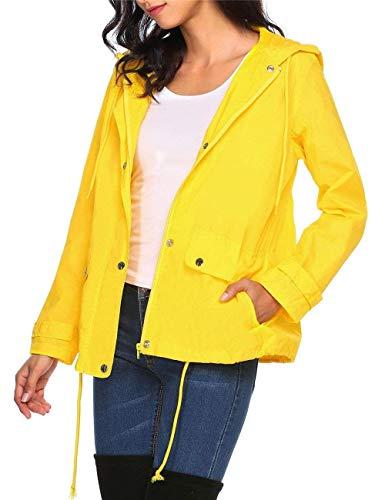 Mujeres A Mode Windbreaker Marca Botón Impermeable Capucha Chaqueta Presión Con Cremallera De Jacket Gelb Rain Bolawoo Y Ligero Transpirable 6wzEFAnxq