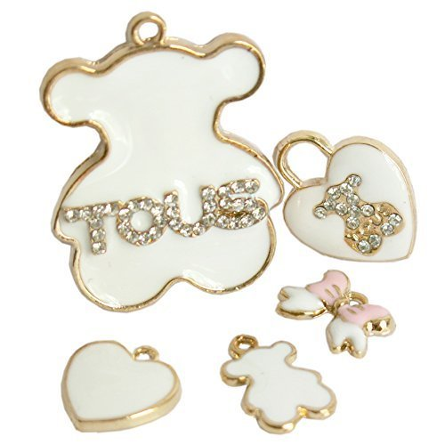- Beading Station 5-Piece Golden Tous Bear Charm Set with Clear Rhinestones