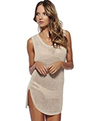 Fashionback Women's Commuting Equipment Fashion Beach Solid Cover-Ups Apricot One Size