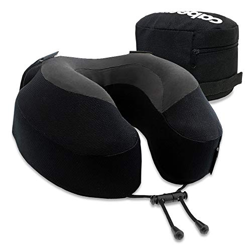 Cabeau Evolution S3 Travel Pillow – Straps to Airplane Seat – Ensures Your Head Won't Fall Forward – Relax with Plush Memory Foam – Quick-Dry Fabric Keeps You Cool and Dry (Jet Black)