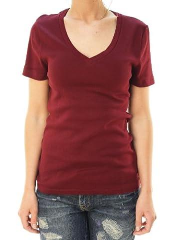 J. Crew Women's Short Sleeve V-Neck Basic T-Shirt Maroon/ Red-M