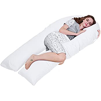 QUEEN ROSE Pregnancy Body Pillow- King Size w/Premium Inner Cover - for Back Pain and Side Sleeping - Cotton Pillowcase (White)