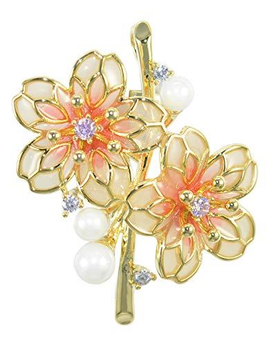 Gyn&Joy Rhodium Plated Pearl Pink Cream White Resin Enamel Sakura CZ Cherry Blossom Brooch Pin for Women BZ263