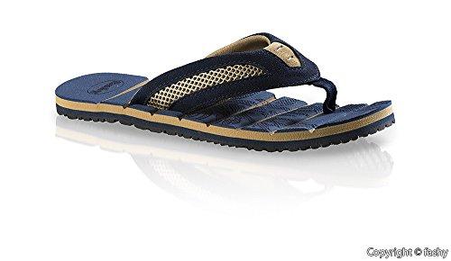 Fashy 7524- Hombre Zapatillas de dedo del pie Zapatos de dedo del pie Zapatillas baño Talla 41-46 / 2 varios colores Azul
