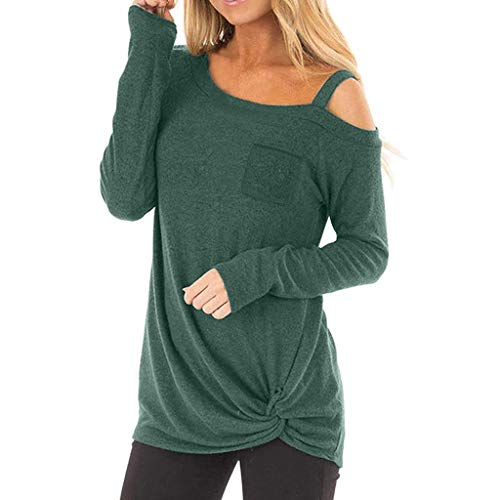 (Womens Tops Summer Off Shoulder Tops Casual Long Sleeves O Neck Tops Knot Side Twist Blouse T-Shirt Green)