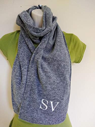 Personalized Scarf Grey, Men, Woman, Kids, Cozy monogrammed embroidered thermal fleece fabric. Initials Custom Scarves Teacher, Grandfather gift gifts.