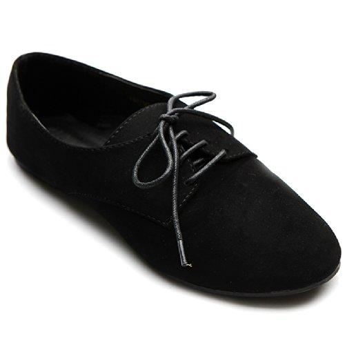 Ollio Women Ballet Flats Shoes Faux Suede Laces Up Oxfords 1ZM1984 (6 B(M) US, Black) by Ollio