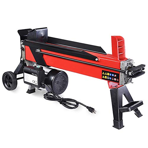 WeChef 7 Ton Electrical Hydraulic Log Splitter Portable Powerful Firewood Wood Cutter with Mobile Wheels 2000W Red