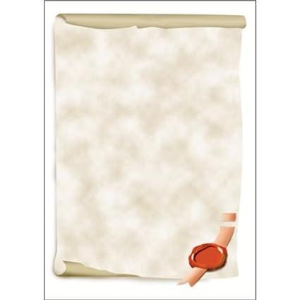 SIGEL DP521 Papel de cartas, 21 x 29,7 cm, 185g/m², Pergamino, gris y rojo, 12 hojas