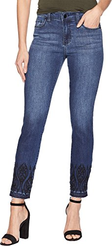 Liverpool Women's Abby Ankle Embroidered in Super Comfort Stretch Denim Jeans in Montauk Mid Blue Montauk Mid Blue 0 27